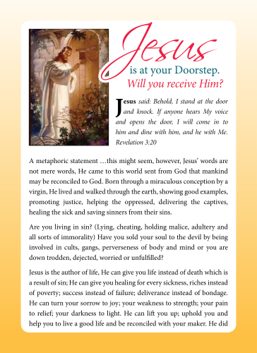 Tract - Jesus is at your door step
