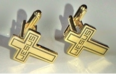 Gift item - Gold plated Jesus' cross shape cufflink