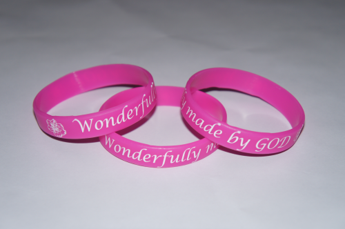 Wonderfully Made by God Pink Silicone Wristband