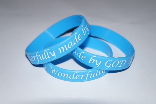 Wonderfully Made by God Blue Silicone Wristband
