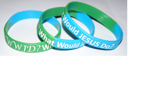 WWJD - What Would Jesus Do Silicone Wristband (Blue and Green)